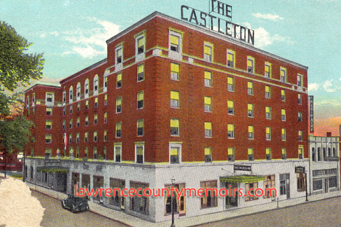 A Vintage View Of The Castleton Hotel In Downtown New Castle