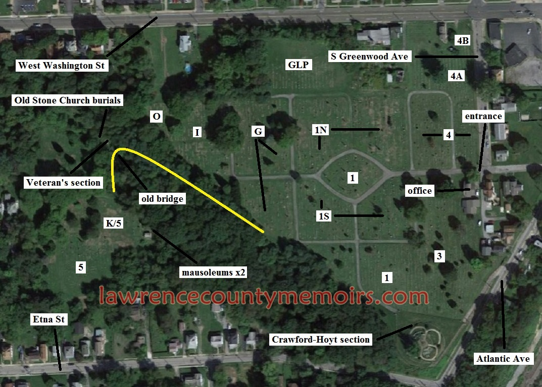 lawrence county memoirs greenwood cemetery  new castle pa - a map showing the various sections of greenwood cemetery the yellow linedepicts the seemingly hidden trail leading to the back section of thecemetery