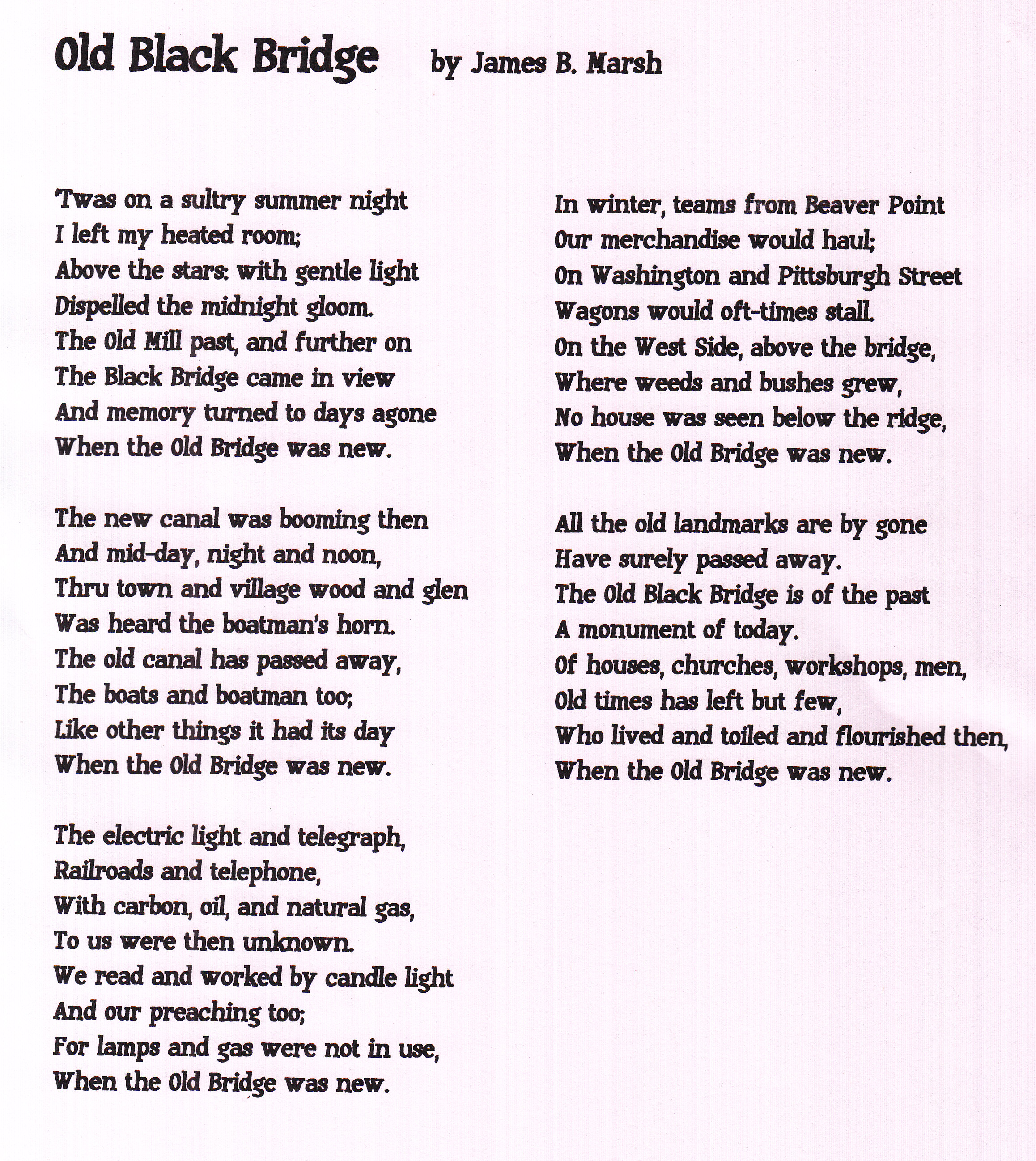Lawrence County Memoirs: Old Black Bridge - Bridge Poem
