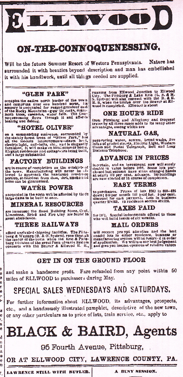 Lawrence County Memoirs: Early Town Advertisements (1891